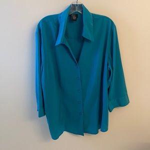 Allison Morgan woman Sz 2X blue button down shirt